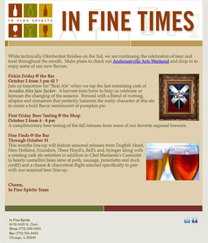 In Fine Spirits' In Fine Times Newsletter